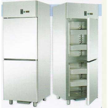 ARMADIO REFRIGERATO GN 2/1 MONOBLOCCO IN ACCIAIO INOX PER PESCE CON 2 SPORTELLI - Temperatura -2 / 8 C