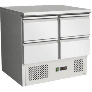 SALADETTE REFRIGERATA STATICA IN ACCIAIO INOX CON 4 CASSETTI - Temperatura 2 / 8 gradi - Dimensioni L.90 x P.70 x H.87 cm (cod. AK901-4D)