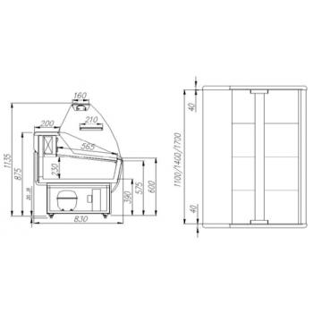 BANCO FRIGO ALIMENTARE PRAIA - PROFONDITA\' 83 cm - TEMPERATURA 0/+7 °C