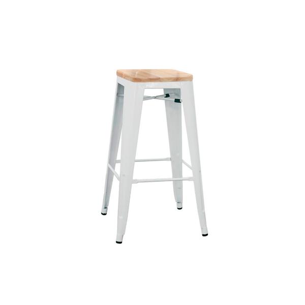 Sgabello in metallo verniciato con seduta in legno Modello 1082