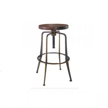 Sgabello in metallo verniciato effetto anticato con seduta in legno