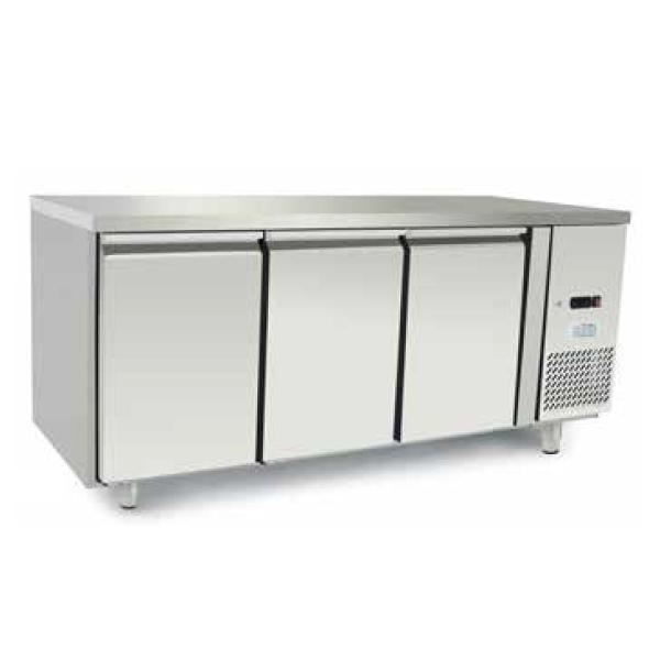Tavolo refrigerato 3 porte in acciaio inox - Temperatura 0/+8°C - L.179