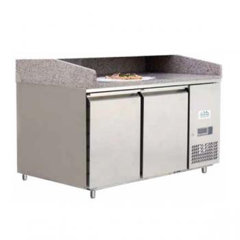 Banco pizza 2 porte con piano in granito e vetrina refrigerata ingredienti - Classe energetica A - L.151 x P.80 x H.143