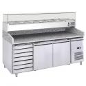 Banco pizza 2 porte e cassettiera con piano in granito e vetrina refrigerata ingredienti - L.201 x P.80 x H.143
