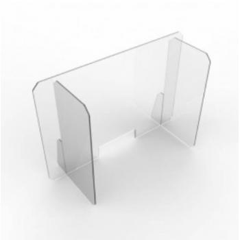 Divisorio separatore a L in plexiglass trasparente con foro