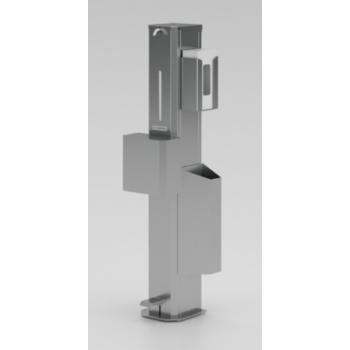 Dispenser gel a pedale in acciaio inox - L.22 x P.23 x H.123 cm