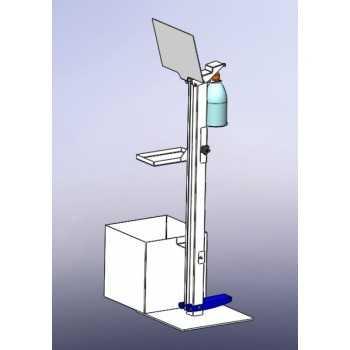Dispenser igienizzante a pedale con porta guanti e cestino