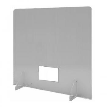 Divisorio in plexiglass trasparente per tavoli con foro alto e piedini ad incastro