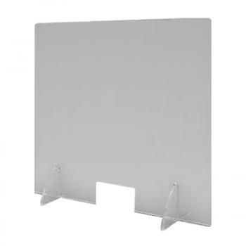 Divisorio in plexiglass trasparente per tavoli con foro basso e piedini ad incastro